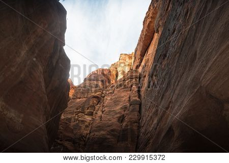 Siq Canyon, Which Goes To The Ancient City Petra And Rocks There