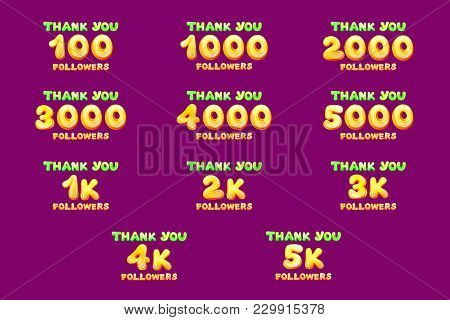 Vector Cartoon Thank You Followers Numbers Set. Hundred Thousand Subscribers Users. Illustration Net
