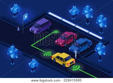 Parking Lot Isometric 3d Vector Illustration Of Night City Car Parking With Illumination Technology.