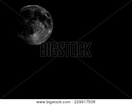 High Contrast Full Moon Seen With Telescope With Copy Space