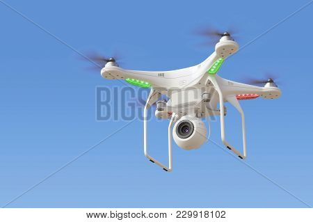 Quadcopter Drone With Camera In Blue Sky. 3d Render