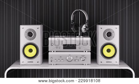 Desktop Hi-fi Speakers, Stereo Amplifier And Headphones Are Silver On The Table. 3d Render