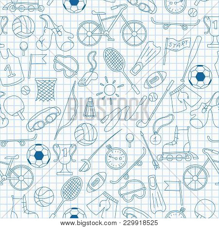 Seamless Pattern On The Theme Of Summer Sports, Simple Blue  Contour  Icons On The Clean Writing-boo