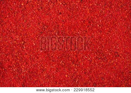 Texture Of Paprika Powder Close-up, Spice Or Seasoning As Background