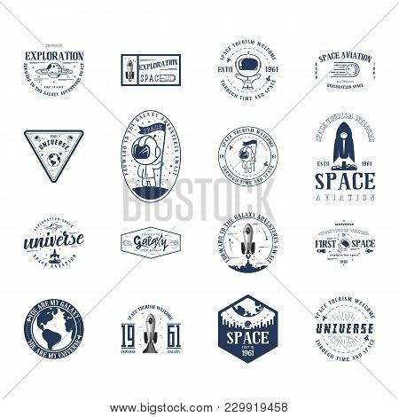 Space - Set Banner, Planets In The Universe, Can Be Used As A Patch, Badge, Sticker. Vector Illustra