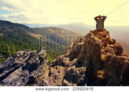 Hiker On The Top Of The Mountain Klein Osser In National Park Bayerische Wald, Germany