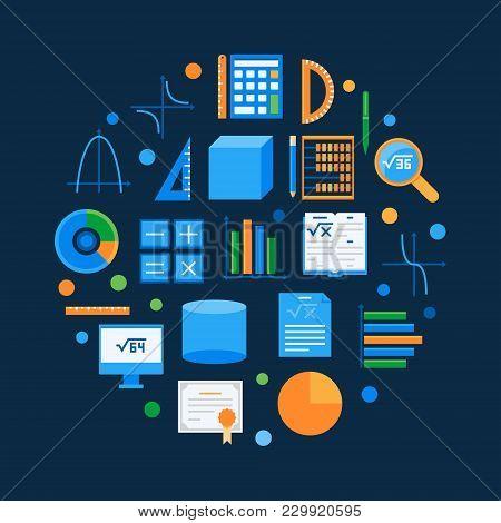 Algebra And Math Vector Round Symbol. Mathematics Circular Symbol On Dark Background