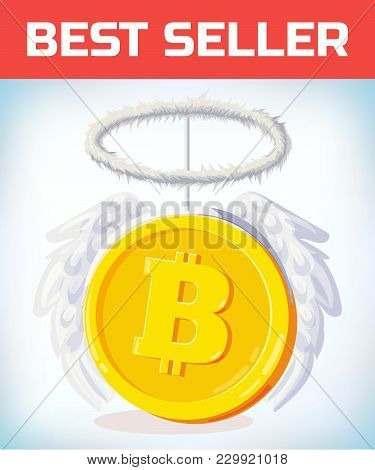 Bitcoin With Angel Nibm And Wings. Crypto Currency Crisis. Crypto Currency Devaluation. Bitcoin Fall