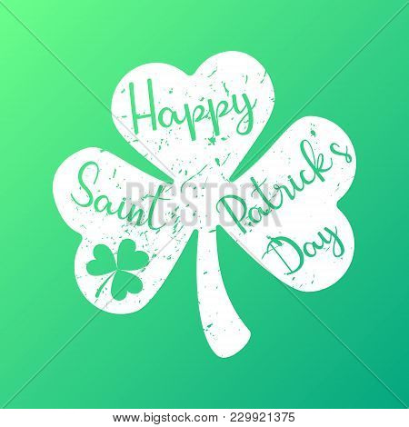 Happy Saint Patrick's Day Text In Shamrock Vector Illustration