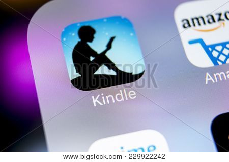 Sankt-petersburg, Russia, March 7, 2018: Amazon Kindle Application Icon On Apple Iphone X Screen Clo