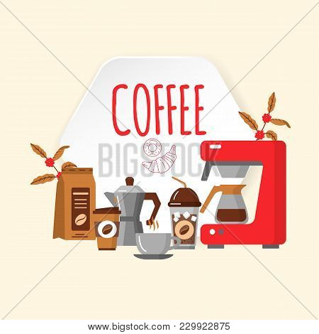 Coffee House Design. Coffee Equipment Flat Collection Icons. Hot Drinks Flat Line Icons - Coffeemake