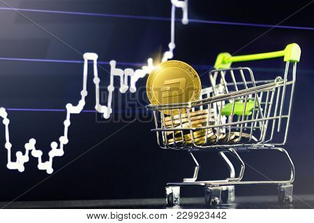 Dash Cryptocurrency; Shopping Cart (trolley) With Gold Physical Dash Coins On The Background Of The