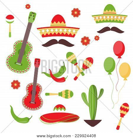 Celebration Of Cinco De Mayo In Mexico, Icon Set, Design Element, Flat Style.a Collection Of Objects