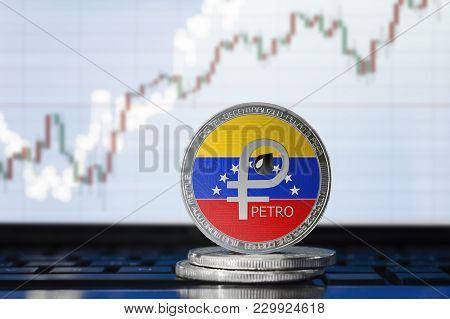 Petro (ptr) National Venezuela Cryptocurrency; Physical Concept El Petro Coin With The Flag Of Venez