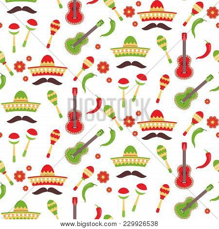 Mexican Repeating Seamless Pattern. Eps 10 Vector. Cinco De Mayo Seamless Fabric . Stock Vector.