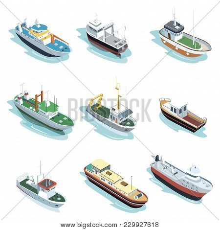 Commercial Sea Ships Isometric Elements. Container Ship, Fishing Trawler, Barge Boat, Port Towboat,