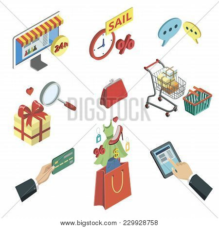 Online Shopping Isometric 3d Icons Set. Mobile Marketing, Online Payment, Internet Store, Sale With