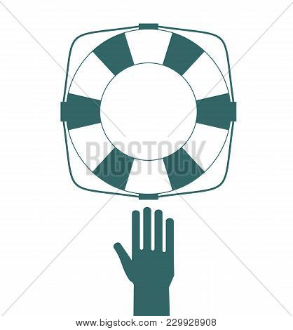 Drown Man With Rised Hand Getting Lifebuoy Help In Sea. Stock Flat Vector Illustration.