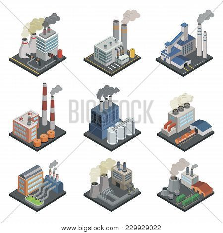 Industrial Building Factory, Chemical Plant And Power Stations With Pipes Isometric 3d Elements. Hea