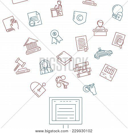 Vector Linear Style Copyright Elements Flying Out Of Computer Monitor Illustration