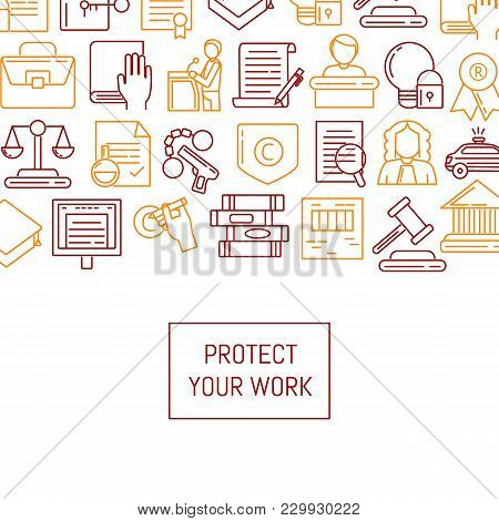 Vector Banner And Poster With Linear Style Copyright Elements Illustration