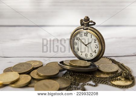 Time And Money, Dial, Hands, Pocket Watch On A Large Variety Of Coins, Vintage Watches