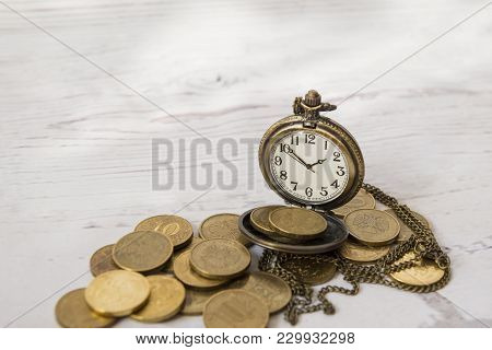 Vintage Watches On The Coins, Time And Money, Watch Face, Hands