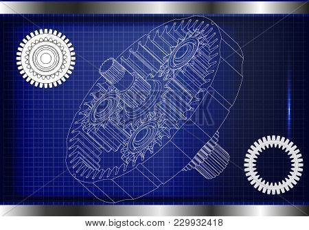 3d Model Of The Planetary Mechanism On A Blue Background. Gear