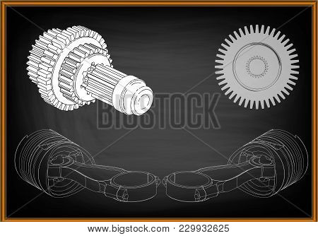 3d Model Of Piston And Gear On Black Background. Drawing