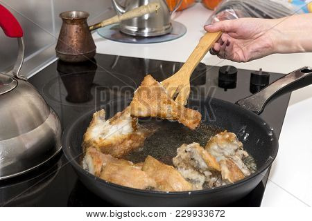 Pieces Of Fish Fried In A Pan, Kitchenware, Cooking, Cooker,  Perch