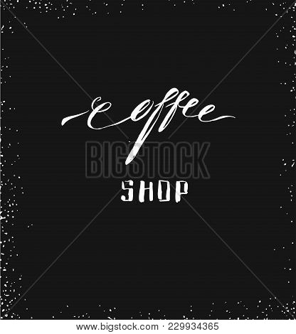 Hand Drawn Vector Abstract Artistic Ink Sketch Drawing Handwritten Coffee Word Calligraphy Isolated