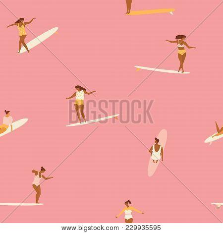 Girl Surfers In Bikini Seamless Pattern In Vector. Flat Style Illustration. Summer Beach Surf Illust
