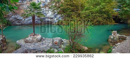 Gagra, Abkhazia - October 4, 2014: Blue Lake Near Ritsa Lake.