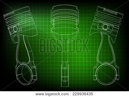3d Model Of Piston On Green Background. Drawing