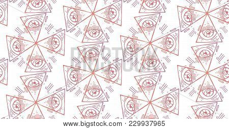 Warm Gradien Hand Draw Vector  Seamless Evil Eyes Pattern With Geometric Designs.