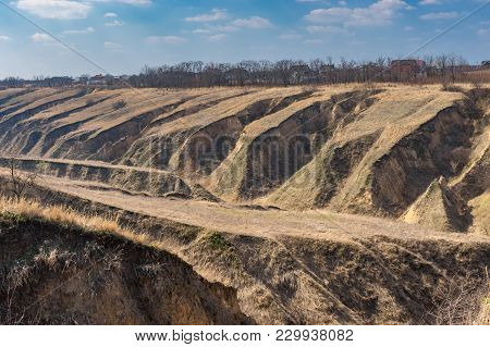 Seasonal Landscape With Soil Erosion In Outskirts Of Dnipro City, Ukraine