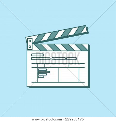 Simple Clapper Board Icon In Flat Style. The Concept Of Symbol Video Files. The Open Movie Clapper B