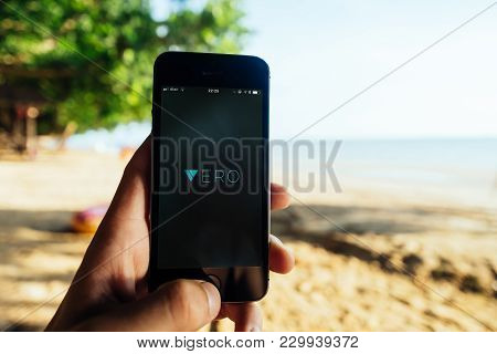 Krabi, Thailand - March 06, 2018: Closeup Of Iphone Screen With Vero Social App Logo