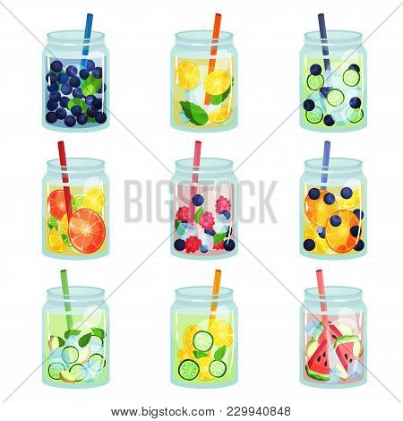 Collection Of Delicious Detox Drinks With Various Ingredients. Refreshing Fruit Water. Natural And H