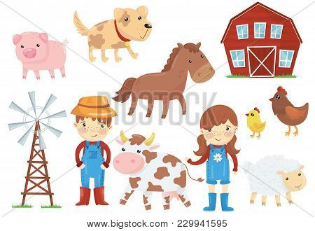 Illustration Of Various Domestic Animals Livestock, Birds, Kids In Blue Working Overalls, Wind Pump,