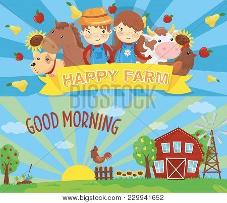 Cartoon Farm Banners. Rural Landscape With Wooden Barn, Green Grass, Wind Pump, Rooster On Fence And