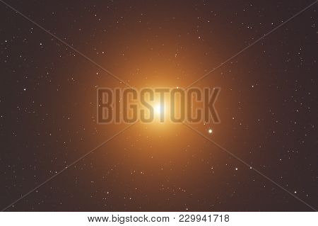 Bright Star Seen From The Earth, Photographed Through A Telescope.