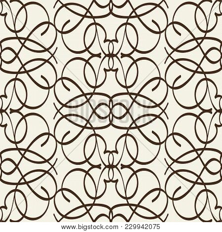 Arabesque Seamless Pattern In Line Style With Intricate Ornament Composed From Squiggles Elements Fl