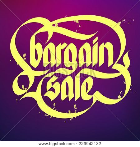Bright Typographical Concept With Yellow Words Bargain Sale On Purple Background Flat Vector Illustr