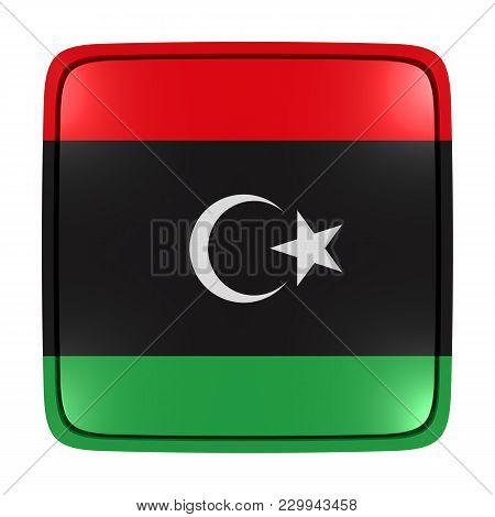 3d Rendering Of A Libya Flag Icon. Isolated On White Background.