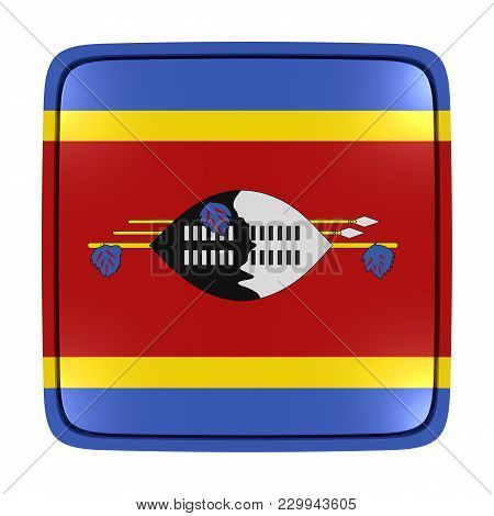 3d Rendering Of A Kingdom Of Swaziland Flag Icon. Isolated On White Background.