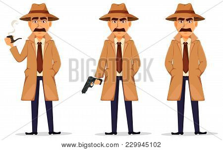 Detective In Hat And Coat. Set Of Handsome Cartoon Character With Smoking Pipe, With A Gun And Stand