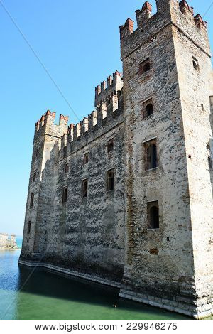 Scaliger Medieval Castle On Garda Lake In Sirmione, Italy