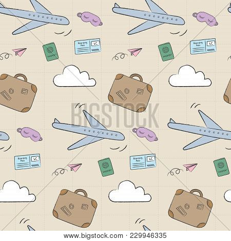 Doodle Travel Pattern With Airplane, Suitcase, And Passport. Playful, Cute, And Flexible Doodle Patt