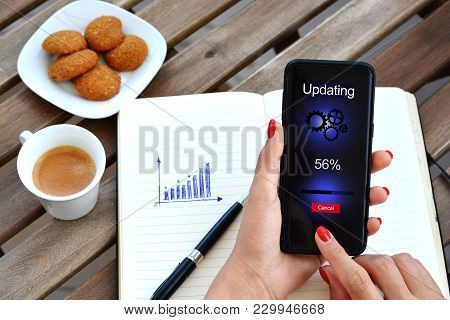 Smartphone Software Update Concept Or System Operating Upgrade With Business Woman Updating Mobile P